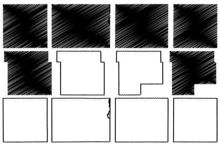 Keokuk, Jefferson, Hamilton, Grundy, Howard and Jones County, Iowa (US county, United States of America, USA, US, US) map vector illustration, scribble sketch map