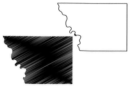 Monona County, Iowa (US county, United States of America, USA, US, US) map vector illustration, scribble sketch Monona map