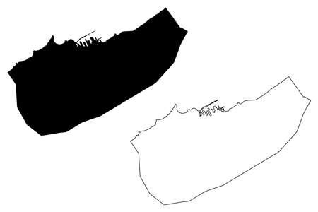Casablanca City (Kingdom of Morocco, Casablanca-Settat Region) map vector illustration, scribble sketch City of Casablanca map
