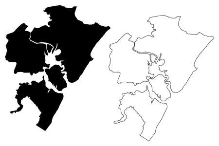 Mombasa County and city (Republic of Kenya, Coast Province) map vector illustration, scribble sketch Mombasa map