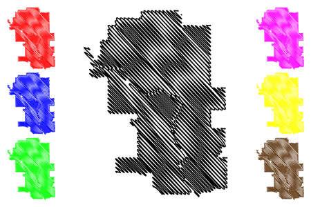 Calgary City (Canada, Alberta Province) map vector illustration, scribble sketch City of Calgary map