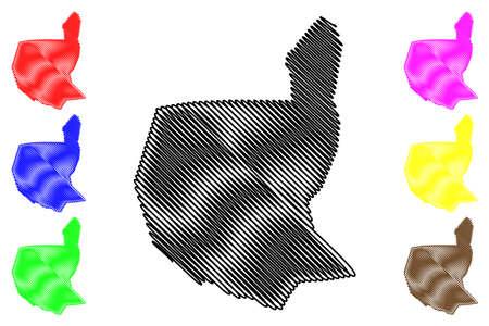 Villa Nueva City (Republic of Guatemala) map vector illustration, scribble sketch City of Villa Nueva map