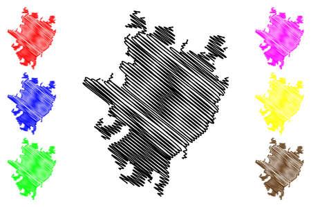 Merida City (United Mexican States, Mexico, Yucatan State) map vector illustration, scribble sketch City of Merida map Ilustração