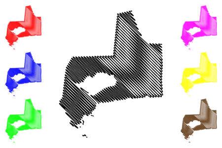 Panama City (Republic of Panama) map vector illustration, scribble sketch City of Panama map Illusztráció