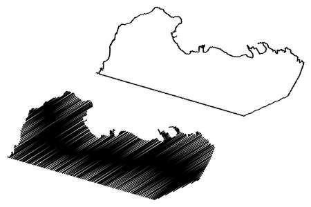 Malabo City (Republic of Equatorial Guinea, Bioko Norte Province) map vector illustration, scribble sketch City of Santa Isabel map