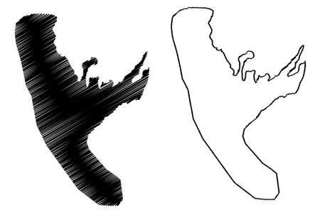 Bukavu City (Democratic Republic of the Congo, Congo-Kinshasa, Zaire, DR Congo, South Kivu Province) map vector illustration, scribble sketch City of Bukavu map