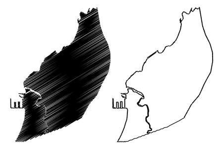 Bata City (Republic of Equatorial Guinea, Litoral Province) map vector illustration, scribble sketch City of Bata map