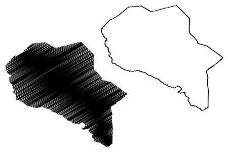 Goma City (Democratic Republic of the Congo, Congo-Kinshasa, Zaire, DR Congo, North Kivu Province) map vector illustration, scribble sketch City of Goma map  イラスト・ベクター素材