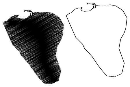 Bosaso City (Federal Republic of Somalia, Bari Region) map vector illustration, scribble sketch City of Bosaso map 矢量图像