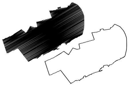 Mogadishu City (Federal Republic of Somalia, Banaadir Region) map vector illustration, scribble sketch City of Xamar or Hamar map