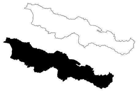Province No. 2 (Federal Democratic Republic of Nepal, Administrative divisions) map vector illustration, scribble sketch map