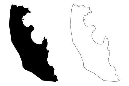 Agua Grande District (Democratic Republic of Sao Tome and Principe, Saint Thomas and Prince) map vector illustration, scribble sketch Agua Grande map