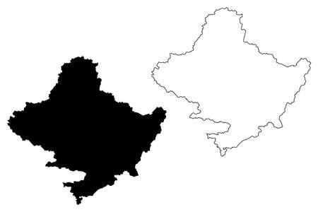 Gandaki Province (Federal Democratic Republic of Nepal, Administrative divisions) map vector illustration, scribble sketch Province No. 4 map 矢量图像