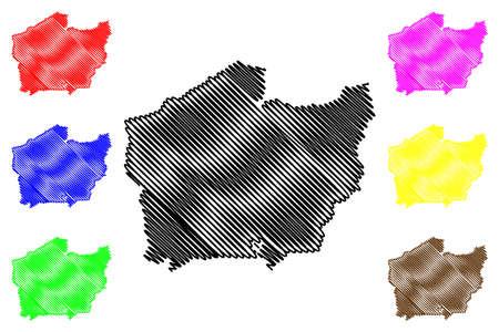 Setif City (People's Democratic Republic of Algeria, Setif Province) map vector illustration, scribble sketch City of Setif map Illustration