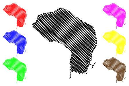 Banjul City (Republic of The Gambia, Banjul Division) map vector illustration, scribble sketch City of Banjul map