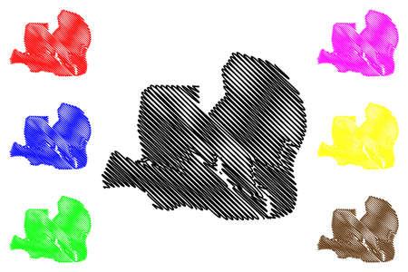 Ciudad de la Paz City (Republic of Equatorial Guinea, Djibloho Province) map vector illustration, scribble sketch City of Oyala map  イラスト・ベクター素材