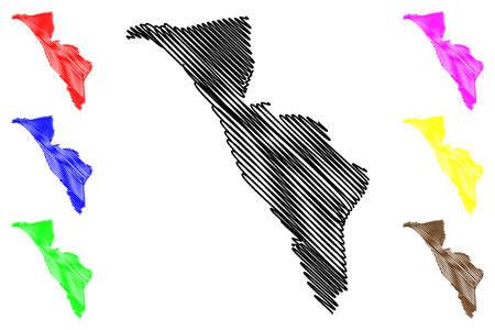 Libreville City (Gabonese Republic, Gabon, Estuaire Province) map vector illustration, scribble sketch City of Libreville map  イラスト・ベクター素材