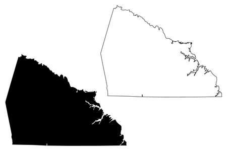 Rowan County, North Carolina State (US county, United States of America, USA, US, US) map vector illustration, scribble sketch Rowan map