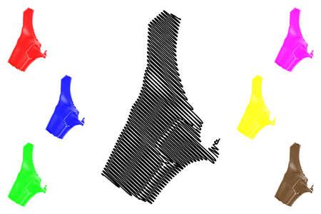 Toamasina City (Republic of Madagascar, Atsinanana Region) map vector illustration, scribble sketch City of Tamatave map