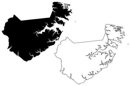 Pamlico County, North Carolina State (US county, United States of America, USA, US, US) map vector illustration, scribble sketch Pamlico map Illusztráció
