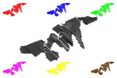 Port Louis City (Republic of Mauritius) map vector illustration, scribble sketch City of Port Louis map