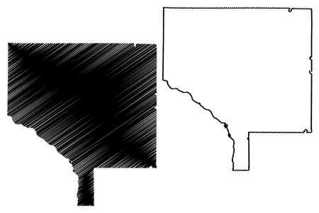 Anoka County, Minnesota (US county, United States of America, USA, US, US) map vector illustration, scribble sketch Anoka map