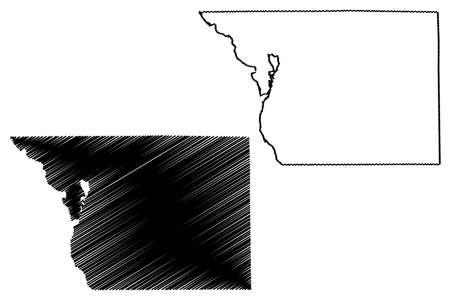 Benton County, Minnesota (US county, United States of America, USA, US, US) map vector illustration, scribble sketch Benton map 矢量图像