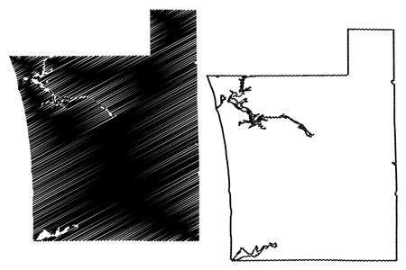 Ottawa County, Michigan (US county, United States of America, USA, US, US) map vector illustration, scribble sketch Ottawa map