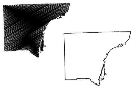 Wayne County, Michigan (US county, United States of America, USA, US, US) map vector illustration, scribble sketch Wayne map