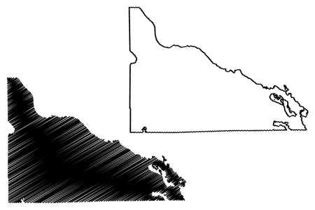 Presque Isle County, Michigan (US county, United States of America, USA, US, US) map vector illustration, scribble sketch Presque Isle map 矢量图像