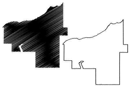 Ontonagon County, Michigan (US county, United States of America, USA, US, US) map vector illustration, scribble sketch Ontonagon map 矢量图像