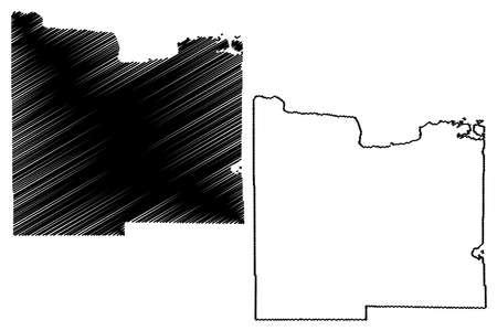Koochiching County, Minnesota (US county, United States of America, USA, US, US) map vector illustration, scribble sketch Koochiching map