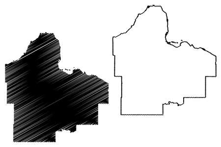 Dakota County, Minnesota (US county, United States of America, USA, US, US) map vector illustration, scribble sketch Dakota map