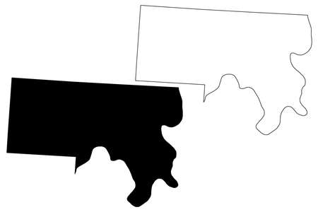 Meigs County, Ohio State (US county, United States of America, USA, US, US) map vector illustration, scribble sketch Meigs map