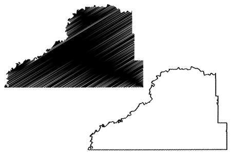 Scott County, Minnesota (US county, United States of America, USA, US, US) map vector illustration, scribble sketch Scott map