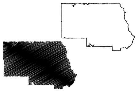 Stearns County, Minnesota (US county, United States of America, USA, US, US) map vector illustration, scribble sketch Stearns map 矢量图像