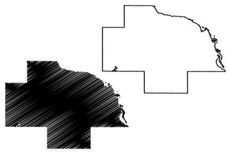 Wabasha County, Minnesota (US county, United States of America, USA, US, US) map vector illustration, scribble sketch Wabasha map