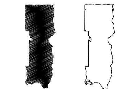Washington County, Minnesota (US county, United States of America, USA, US, US) map vector illustration, scribble sketch Washington map 矢量图像