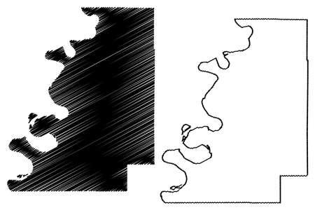 Bolivar County, Mississippi (US county, United States of America, USA, US, US) map vector illustration, scribble sketch Bolivar map 矢量图像