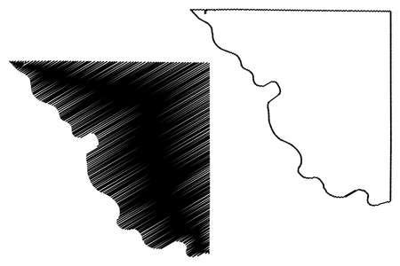 Platte County, Missouri (US county, United States of America, USA, US, US) map vector illustration, scribble sketch Platte map Çizim