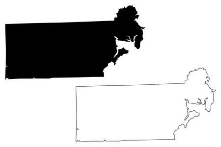 Kent County, State of Rhode Island and Providence Plantations (US county, United States of America, USA, US, US) map vector illustration, scribble sketch Kent map