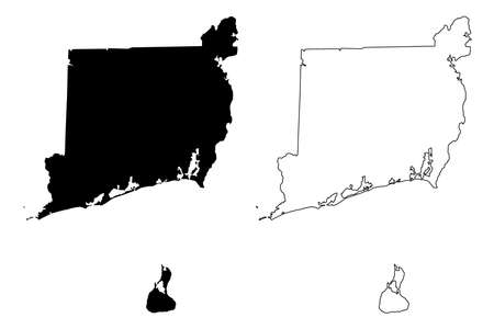 Washington County, State of Rhode Island and Providence Plantations (US county, United States of America, USA, US, US) map vector illustration, scribble sketch South County map