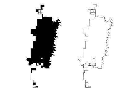 Fargo City, North Dakota (United States cities, United States of America, usa city) map vector illustration, scribble sketch City of Fargo map