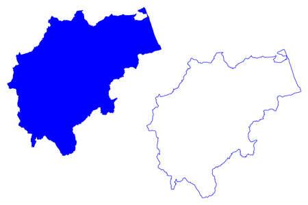 Macerata province (Italy, Italian Republic, Marche or The Marches region) map vector illustration, scribble sketch Province of Macerata map