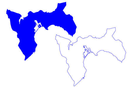 Metropolitan City of Cagliari (Italy, Italian Republic, Sardinia region) map vector illustration, scribble sketch Province of Cagliari map