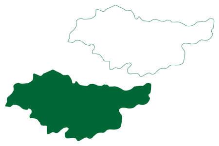 Baloda Bazar - Bhatapara district (Chhattisgarh State, Raipur division, Republic of India) map vector illustration, scribble sketch Baloda Bazar map