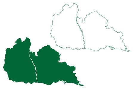Janjgir – Champa district (Chhattisgarh State, division, Republic of India) map vector illustration, scribble sketch Janjgir Champa map