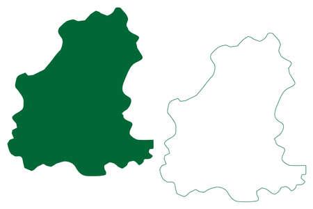 Gaurela-Pendra-Marwahi district (Chhattisgarh State, division, Republic of India) map vector illustration, scribble sketch Gaurela Pendra Marwahi map Ilustração