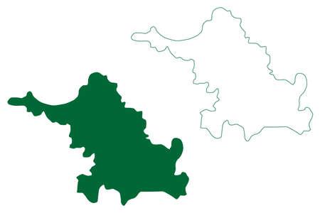 Balrampur district (Chhattisgarh State, division, Republic of India) map vector illustration, scribble sketch Balrampur Ramanujganj map