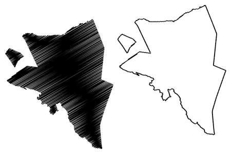 Aana District, Upolu island (Independent State of Samoa, Western Samoa) map vector illustration, scribble sketch A'ana map Ilustração